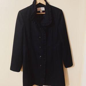 Black Dress Coat - button down, ruffle